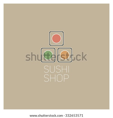 Sushi icons. Templates for web. Graphic design. Signs and symbols. Restaurant logo. - stock vector