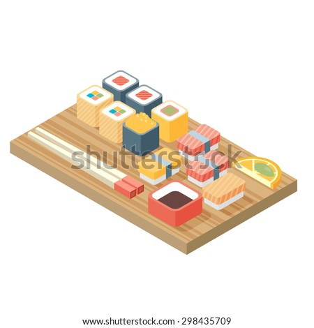 Sushi, Japanese cuisine. Asia food icon set with sushi rolls sashimi. Isolated vector illustration flat design. - stock vector