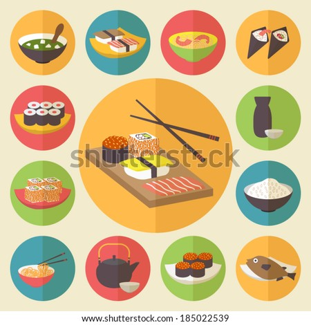 Sushi, Japanese cuisine, food icons set, flat design vector. - stock vector
