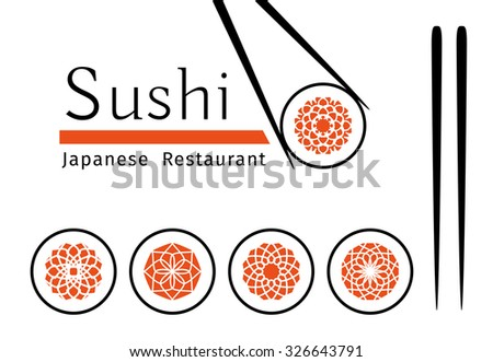 Sushi logo templates set. Vector ornamental emblem for Japanese restaurants and cafes - stock vector