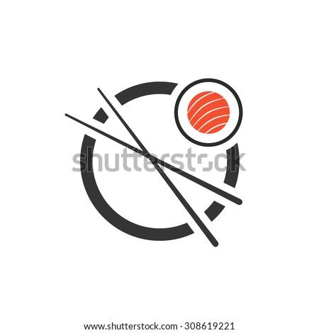 sushi roll with chopsticks icon. concept of company emblem, sashimi, maki, visual identity, minimal mark. isolated on white background. flat style trend modern brand design vector illustration - stock vector