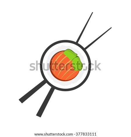 Sushi roll with chopsticks logo, sushi restaurant logotype, sushi bar symbol, sushi roll flat icon, sushi close up emblem, cartoon vector illustration modern simple design isolated on white background - stock vector