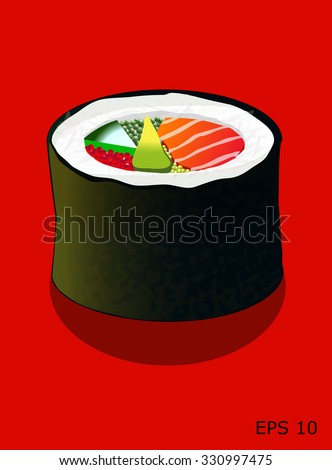 Sushi roll, with salmon, caviar, cucumber and avocado, isolated on red, all objects on different layers, vector illustration - stock vector