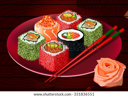 Sushi rolls with caviar, red fish and squid on the plate, with ginger and chopsticks. Vector illustration. All items are on separate layers - stock vector