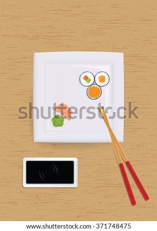 Sushi set on plate. Vector illustration - stock vector
