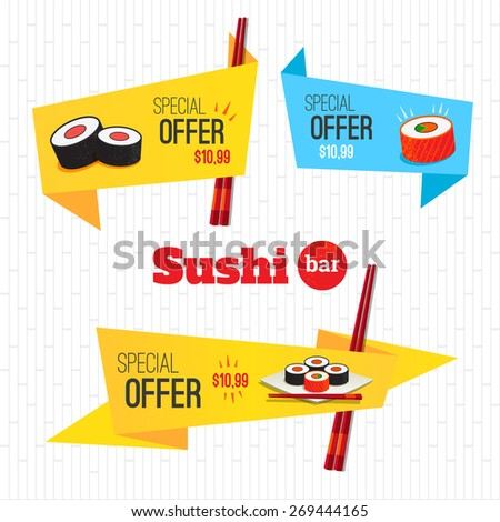 Sushi set origami banners special offer on rolls. Logo sushi bar - stock vector