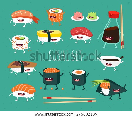 Sushi set. Soy sauce and sushi roll. Japanese food. Vector cartoon. friends forever. Comic characters. - stock vector