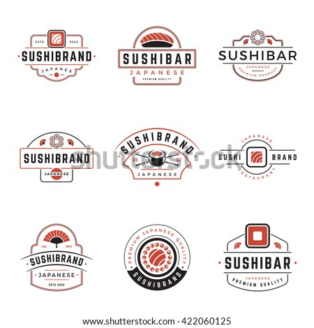 Sushi Shop Logos Templates Set. Vector objects and Icons for Sushi Labels or Badges, Japanese Food Emblems Graphics.