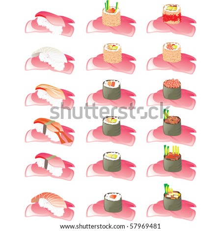 Sushi vector set - stock vector