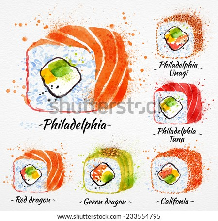 Sushi watercolor set hand drawn with stains and smudges rolls, philadelphia, red dragon, green dragon, califonia, philadelphia tuna, philadelphia unagi - stock vector