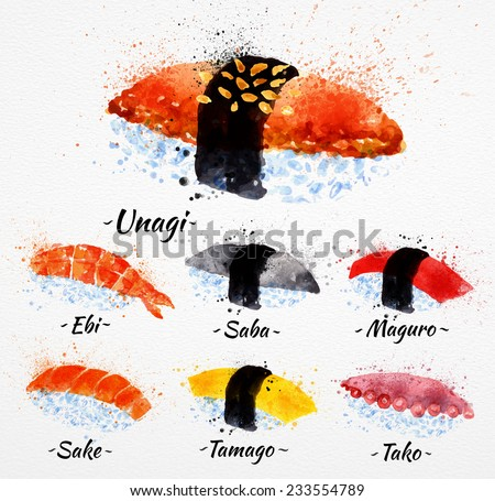 Sushi watercolor set hand drawn with stains and smudges unagi, sabe, maguro, sake, tamago, tako - stock vector