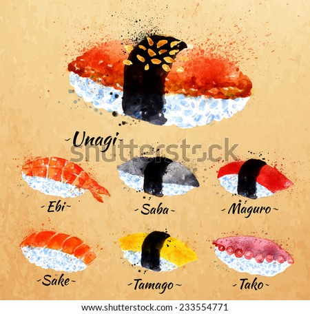 Sushi watercolor set hand drawn with stains and smudges unagi, sabe, maguro, sake, tamago, tako in kraft - stock vector