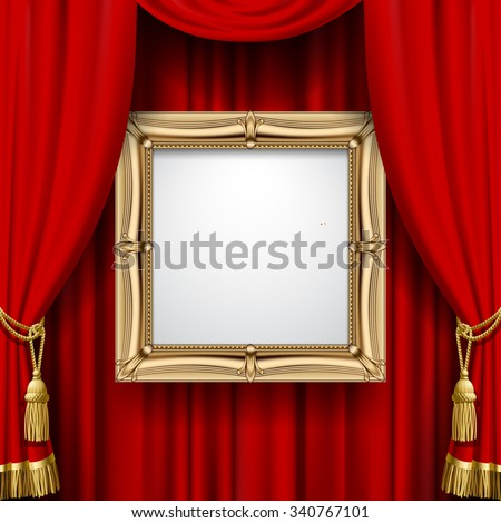 Suspended gold frame on the red curtain background. Square presentation artistic poster and placard. Vector illustration - stock vector