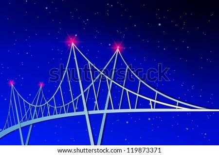 Suspension Bridge - stock vector