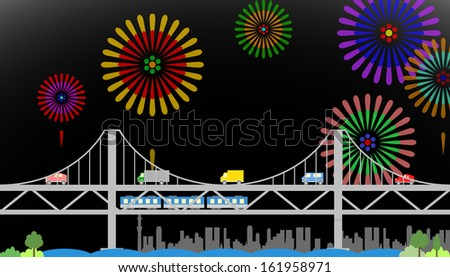 suspension bridge with fireworks - stock vector