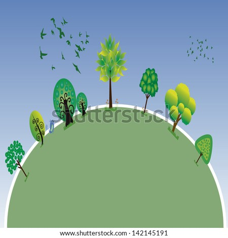 Sustainable Earth planet. Planet life, with trees and birds