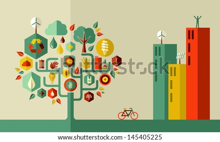 Sustainable energy town concept  . Vector file layered for easy manipulation and custom coloring. - stock vector