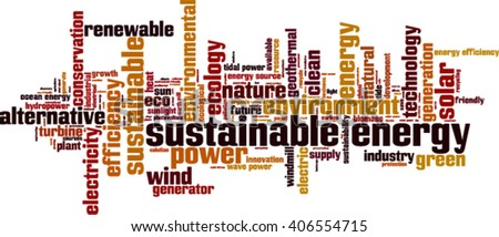 Sustainable energy word cloud concept. Vector illustration - stock vector
