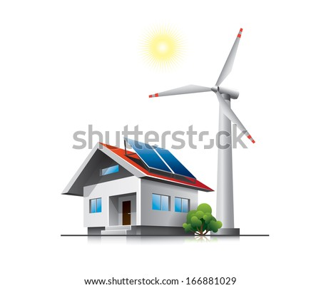 Sustainable family house with solar panels and wind turbine - stock vector