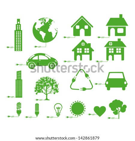 sustainable icons over white background vector illustration - stock vector