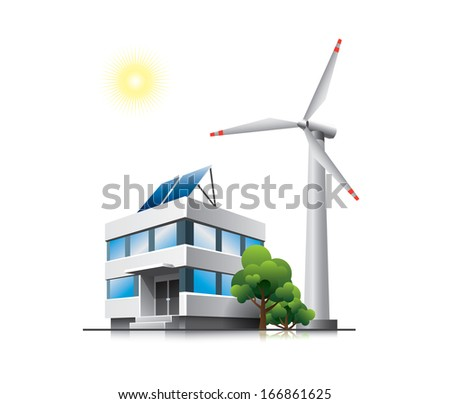 Sustainable office with solar panels and wind turbine - stock vector
