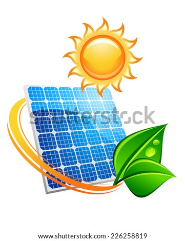 Sustainable solar energy concept with blue photovoltaic panels under a hot yellow sun with fresh green leaves depicting the environment and ecology - stock vector