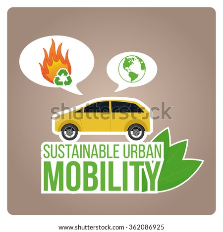 sustainable urban mobility illustration with green text over  color background
