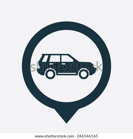 suv icon map pin on white background  - stock vector