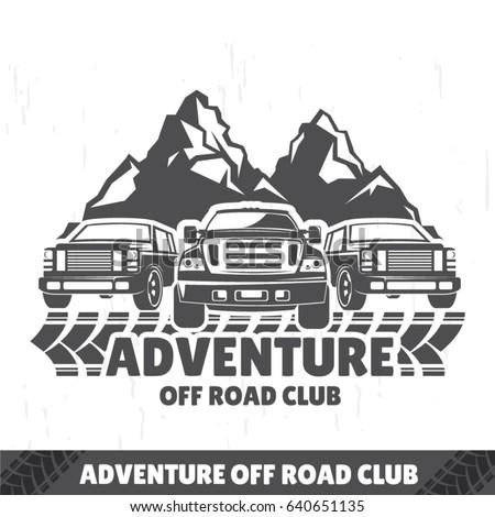 Offroad Car Logo Safari Suv Expedition Stock Vector