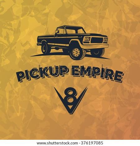 SUV pickup car vector emblem on grunge yellow background. Off road pickup design elements, 4x4 vehicle illustration. - stock vector