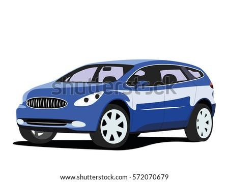 Suv Vector Blue Stock Vector Shutterstock