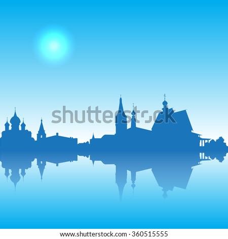 Suzdal  vector silhouette  skyline - stock vector
