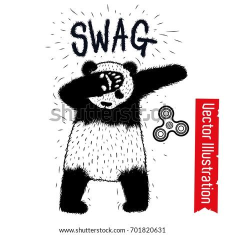 Dancing panda dub dancing sign swag hipster element advertising