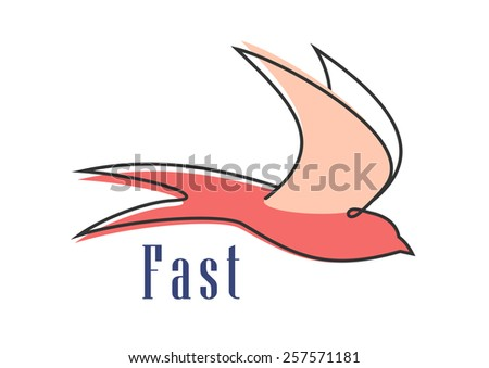 Swallow abstract silhouette showing flying bird in pink colors isolated on white background with caption Fast - stock vector