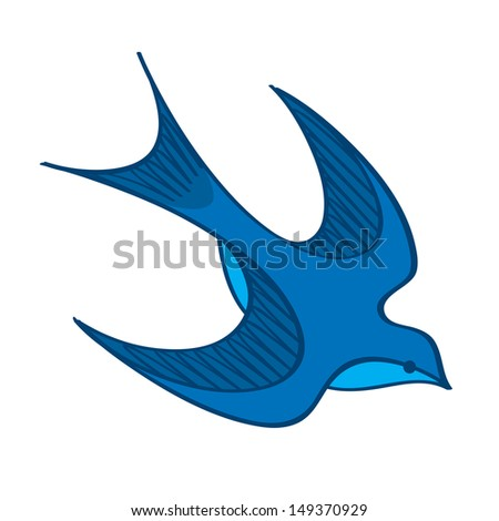 Swallow blue bird wing feather nature barn - stock vector