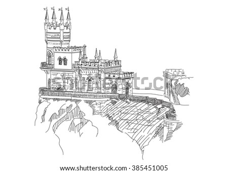 Swallow's nest. Crimea. Engraving - stock vector