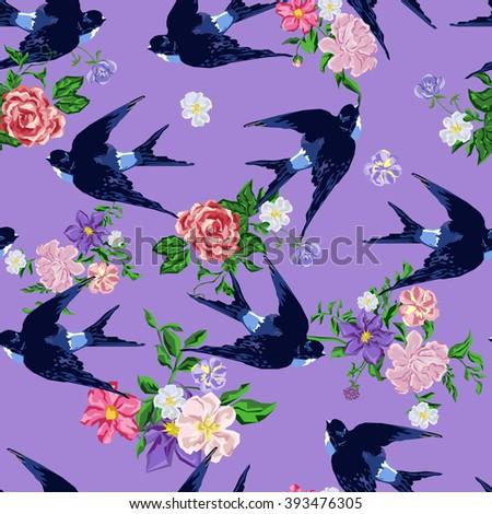 Swallow seamless vector, vector illustration isolated birds. birds flying, animals, bird silhouette, bird vector - stock vector