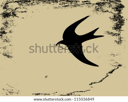 swallow silhouette on  grunge background, vector illustration - stock vector