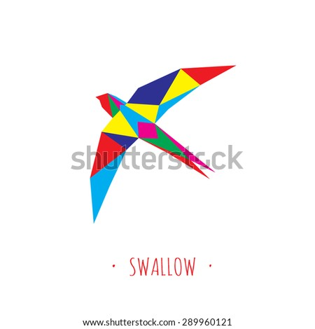 Swallow stylized triangle polygonal model - stock vector