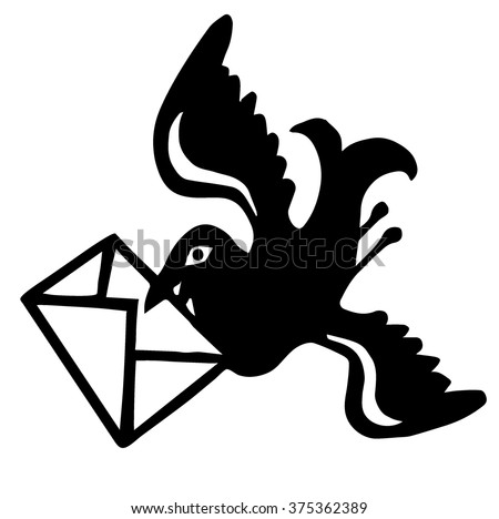 swallow with a letter - stock vector
