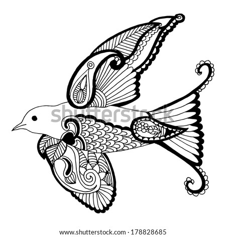 swallow with embroidery decoration - stock vector