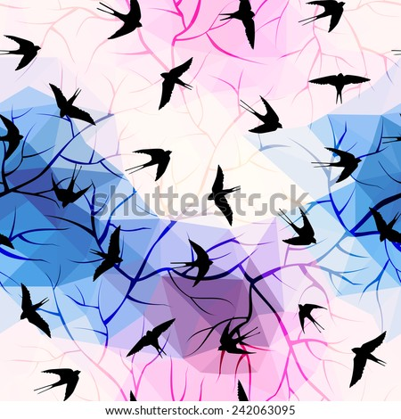 Swallows on geometrical background with branches. Seamless pattern. - stock vector