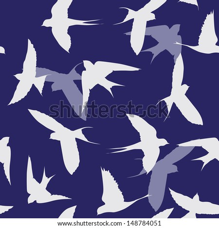 swallows seamless background - stock vector