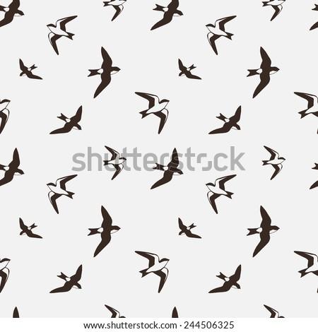 Swallows. Seamless pattern. Vector illustration.  - stock vector