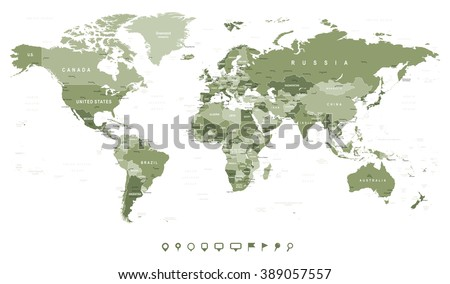 Swamp Green World Map Borders Countries Stock Vector 389057557
