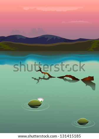 Swamp in a sunset - stock vector