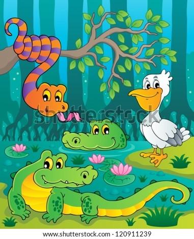 Swamp theme image 1 - vector illustration. - stock vector