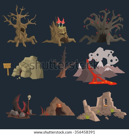 Swamp, Tree and Cave Game Vector Set - stock vector