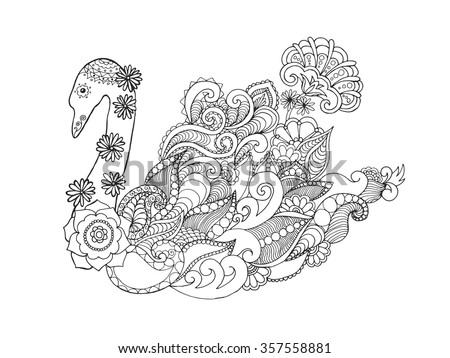 Swan. Black white hand drawn doodle animal. Ethnic patterned vector illustration. African, indian, totem, tribal, zentangle design. Sketch for colouring page, tattoo, poster, print, t-shirt - stock vector