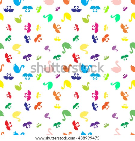 Swan colorfull bright seamless pattern - stock vector